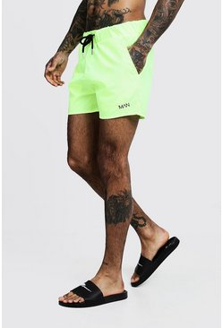 Neon-yellow Original MAN Mid Length Swim Short