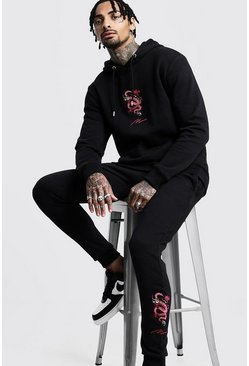 Black Dragon Embroidered MAN Hooded Tracksuit