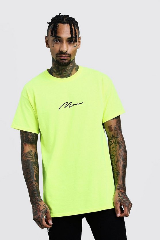 Oversized MAN Signature Neon T-Shirt