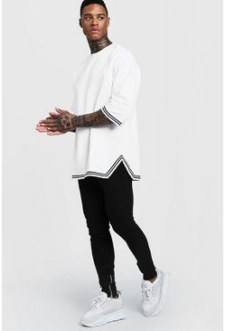 Mens White Oversized Drop Shoulder MAN Tracksuit With Tape