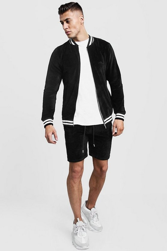 Black Velour MAN Short Bomber Tracksuit