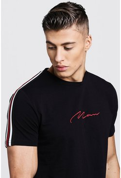 Black MAN Signature Curved Hem T-Shirt With Side Tape