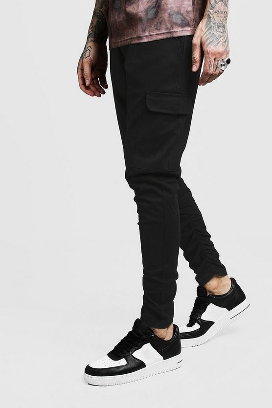 Mens Black Skinny Fit Twill Pants With Cargo Pocket
