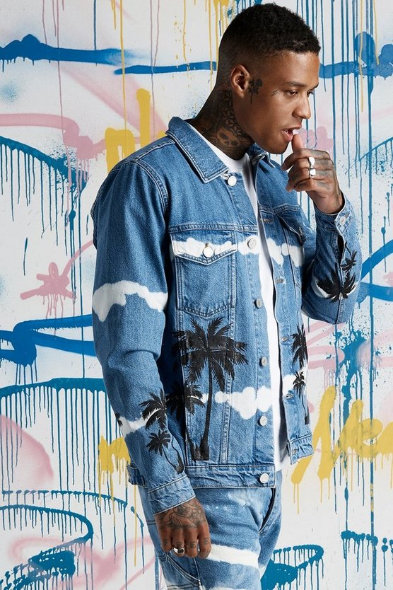 Mens Blue Quavo Palm Print Tie Dye Denim Jacket