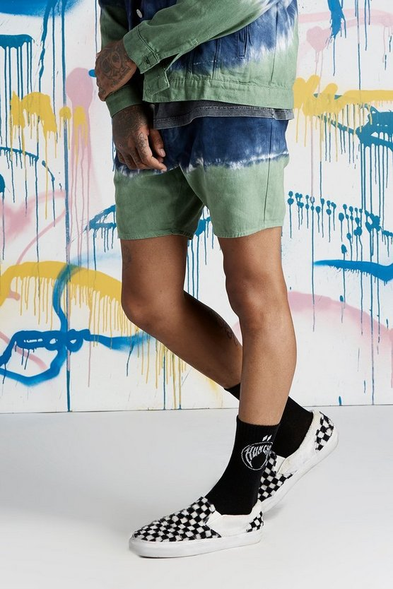 Quavo Slim Fit Tie Dye Denim Shorts