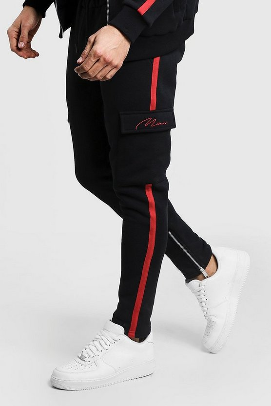Black MAN Signature Red Tape Jogger With Cargo Pocket