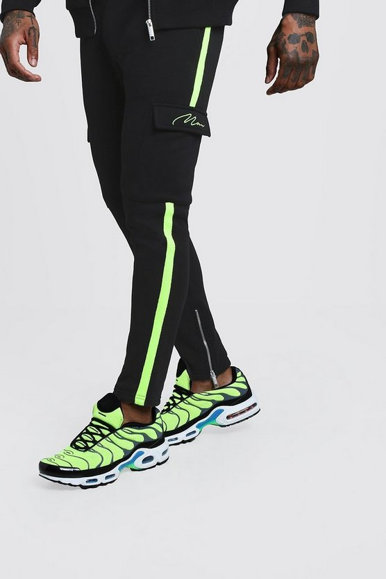 Black MAN Signature Neon Tape Joggers With Cargo Pocket
