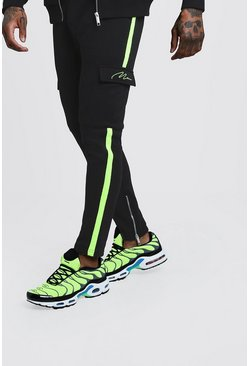 Mens Black MAN Signature Neon Tape Joggers With Cargo Pocket