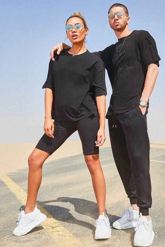 Mens Black His Oversized T-Shirt Tracksuit With Embroidery