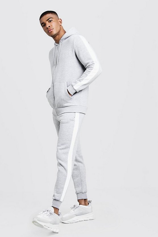 Mens Grey marl His Hooded Tracksuit With Contrast Panels