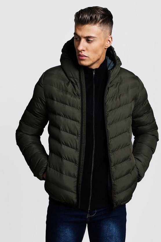 Khaki Quilted Zip Through Hooded Jacket