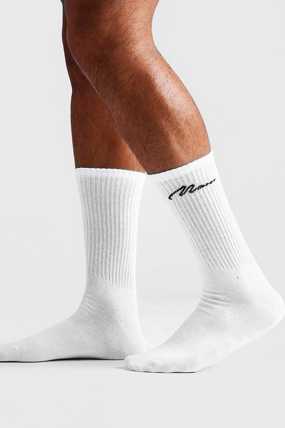 Mens White Man Script Single Pack Socks