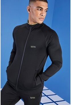 Mens Black MAN Active Zip Through Track Top