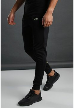 Mens Black MAN Active Muscle Fit Panelled Jogger