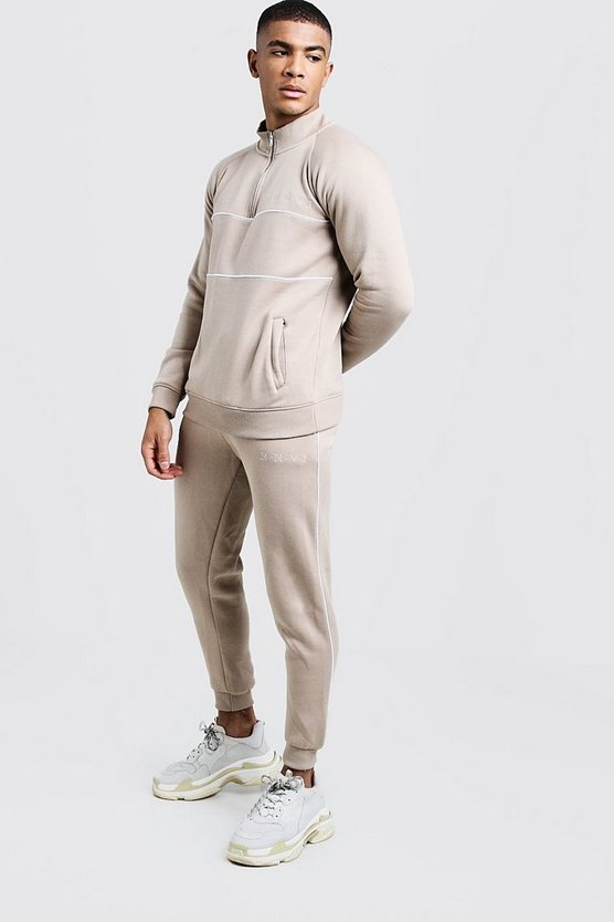 Mens Taupe His Half Zip Funnel Neck Embroidered Tracksuit