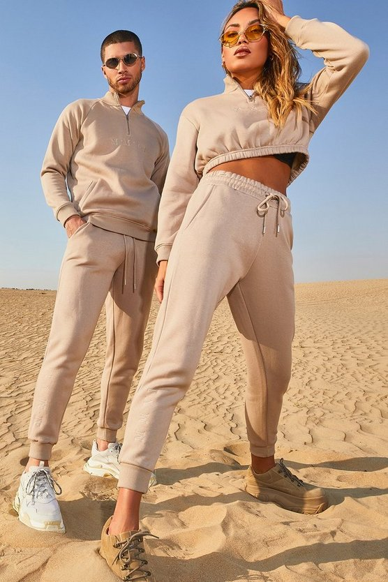 His Half Zip Funnel Neck Embroidered Tracksuit