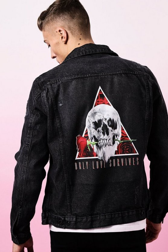 Black Valentines Only Love Survives Denim Jacket