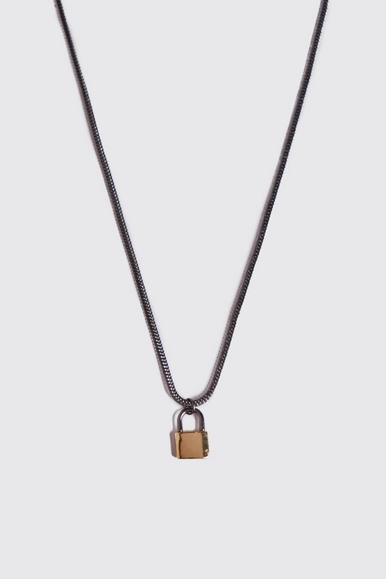 MAN Script Padlock Necklace