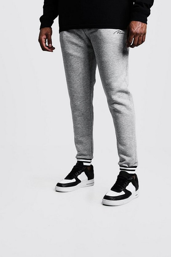 Grey Big & Tall Joggers With Sport Stripe Rib