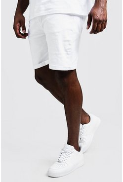 Grand short skinny en jean blancs stretch, Blanc, Homme