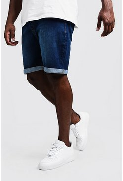 Big & Tall Mittelblaue Stretch Skinny Fit Jeansshorts, Mittelblau, HERREN
