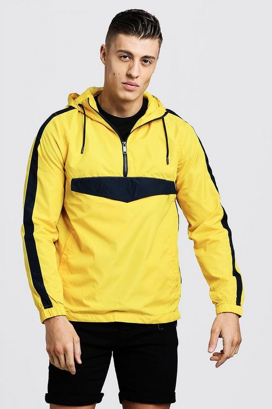 Mens Yellow Colour Block Overhead Cagoule