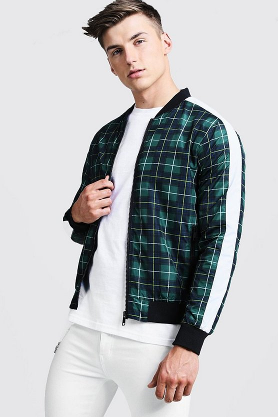 Mens Green Check Contrast Bomber