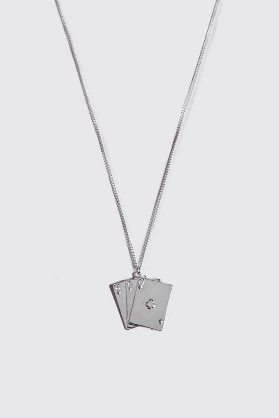 Mens Silver Pack Of Cards Pendant Necklace