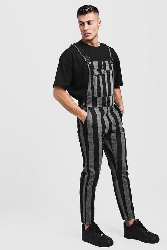 Slim Fit Printed Stripe Denim Overalls