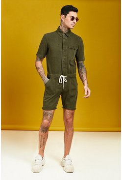 Mens Khaki Short Length Denim Jumpsuit