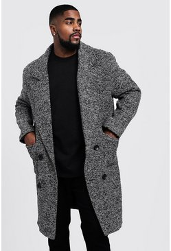 Mens Grey Big & Tall Textured 3/4 Smart Lined Overcoat