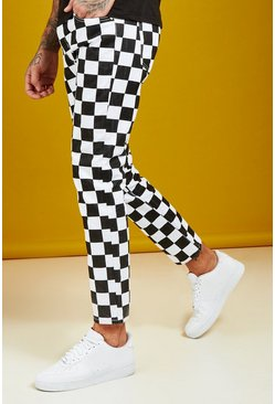 Mens Black Slim Fit Checkerboard Print Jeans