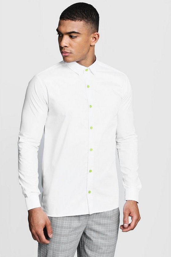 Slim Fit Long Sleeve Shirt With Neon Yellow Buttons