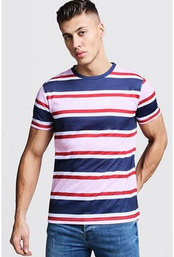 Mens Pink Short Sleeve Stripe T-Shirt With Future Embroidery