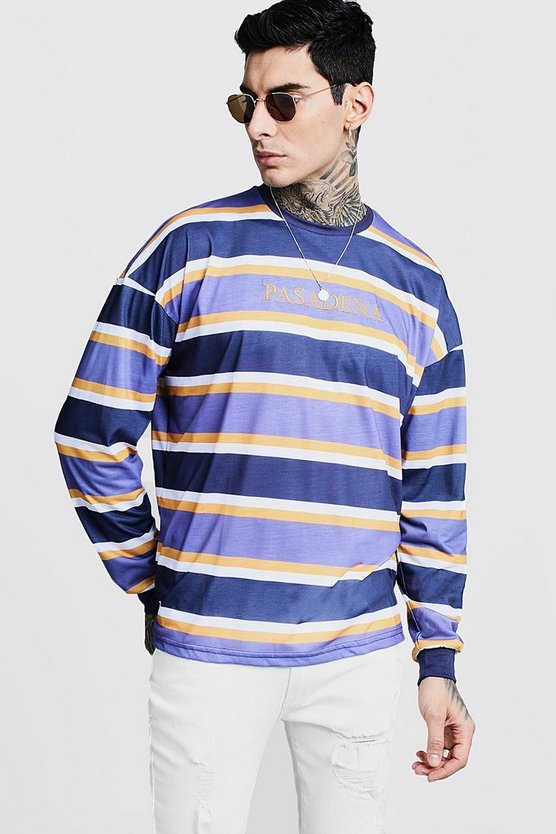 Purple Cuffed Stripe Oversized T-Shirt With Pasadena Embroidery