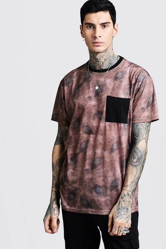 Oversized Camo Tee With Block Pocket
