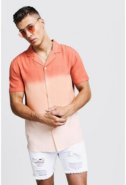 Mens Orange Dip Dye Short Sleeve Revere Shirt
