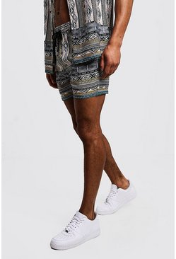 Mens Stone Aztec Printed Drawstring Short