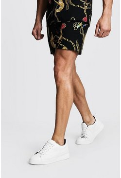 Mens Black Tiger Chain Printed Drawstring Short