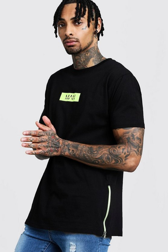 Neon MAN Box Logo Longline T-Shirt With Zips
