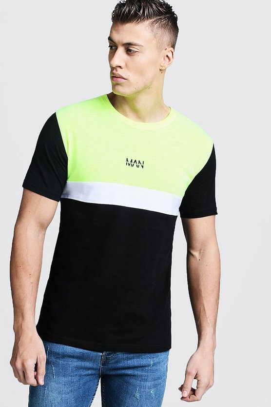 Mens Black Neon Colour Block MAN T-Shirt