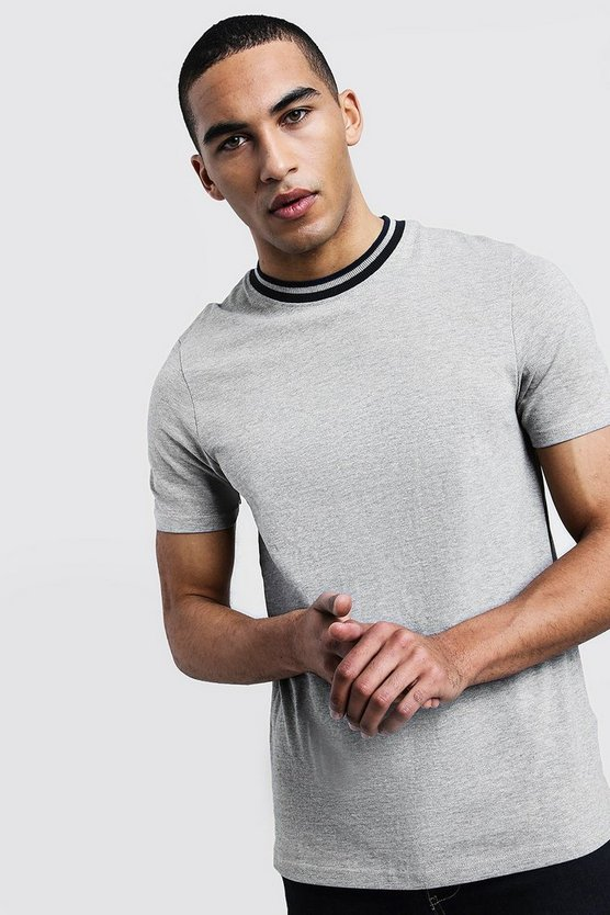 Mens Grey Pique Extended Neck T-Shirt With Contrast Tip