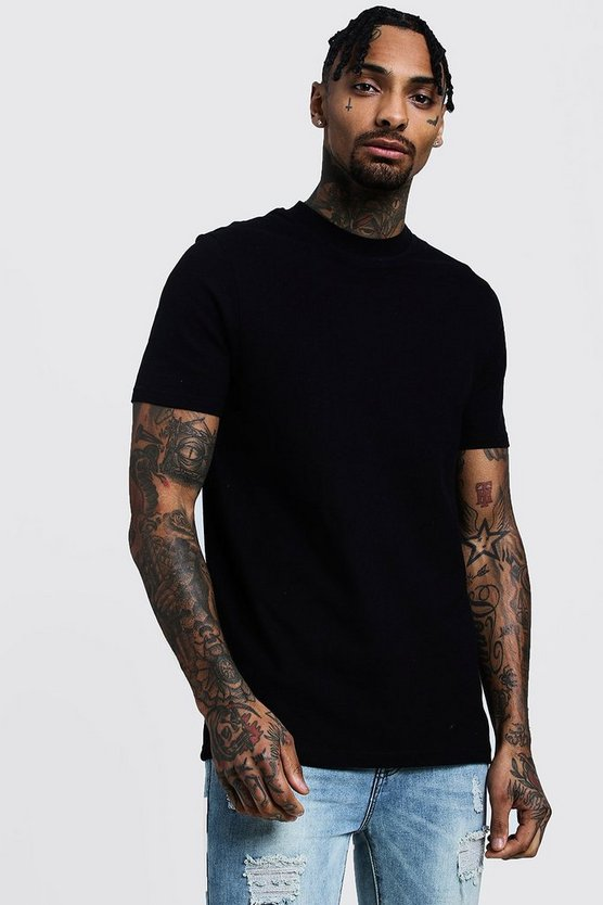 Crew Neck Pique Extended Neck T-Shirt