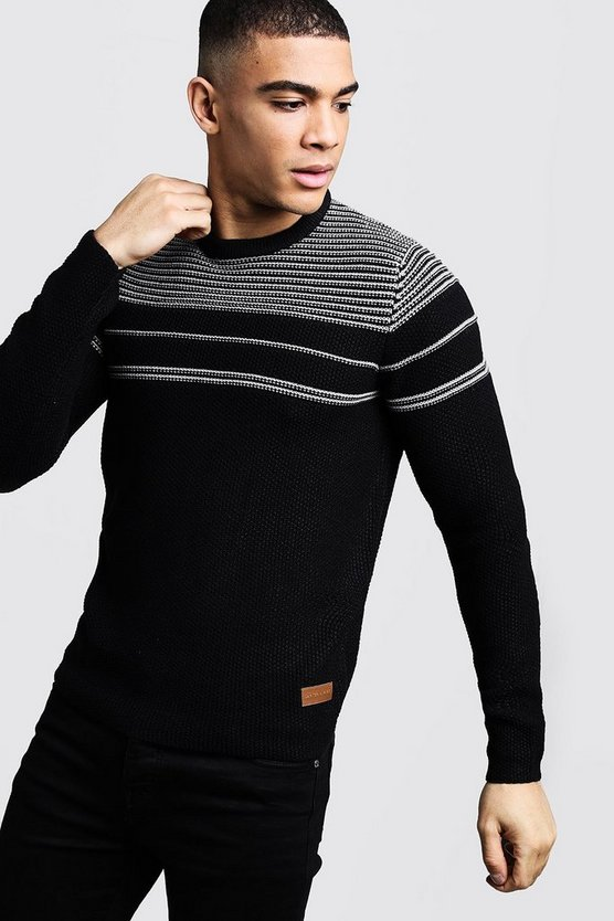Textured Stripe Knitted Jumper