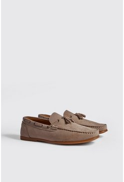 Mens Sand Faux Suede Loafer With Tassel