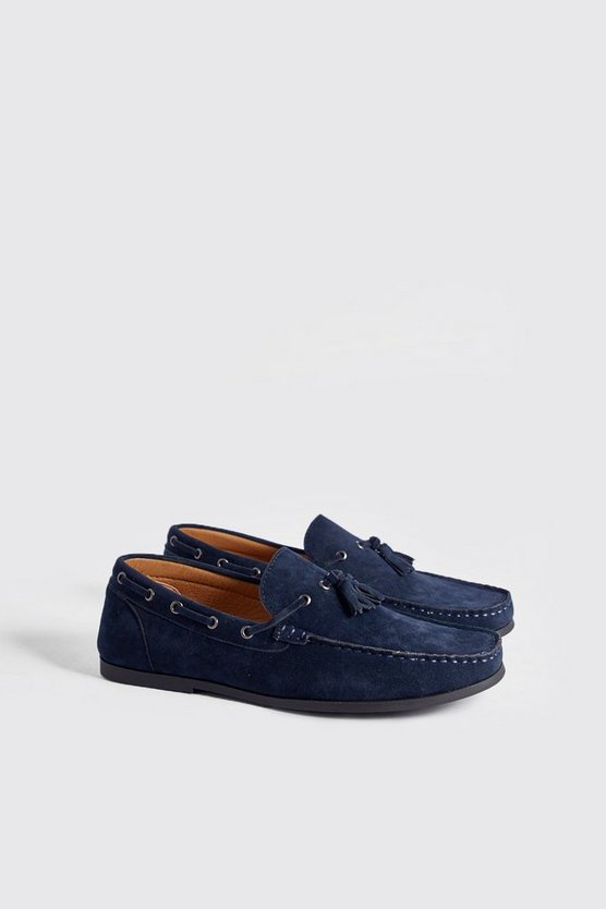 Navy Faux Suede Loafer With Tassel