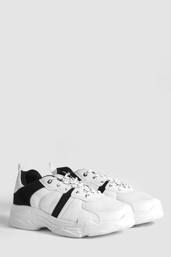 Mens White Contrast Detail Chunky Sneakers