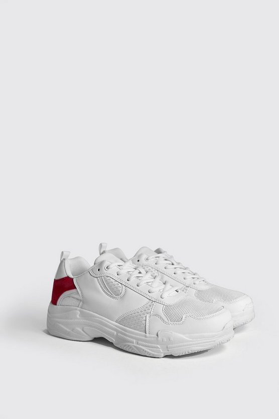 Mens White Chunky Trainers With Contrast Heel Panel