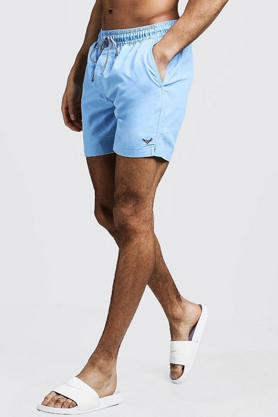 Mid Length Swim Short With Stripe Drawcord