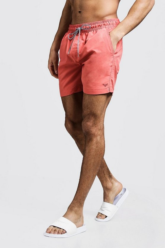 Mens Coral Mid Length Swim Short With Stripe Drawcord